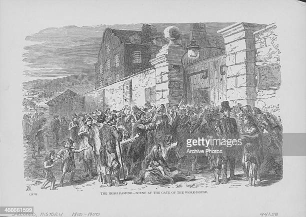 Engraving depicting the devastation of the Irish famine showing a scene outside a workhouse Ireland circa 18461847