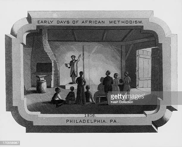 Engraving depicting the early days of African American Methodism showing a man preaching to a tiny congregation Philadelphia PA 1816
