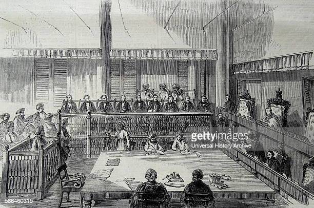 Engraving depicting the interior of the Madras Supreme Court Located within the Madras High Court Building India Dated 1860