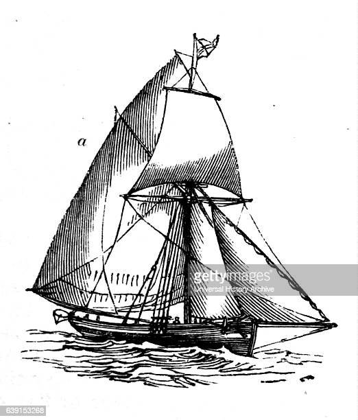 Engraving depicting the main sail on a ship which is extended by a yard attached to the mainmast and that of a sloop by the boom Dated 19th Century