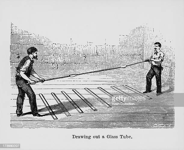 Engraving depicting the manufacturing of glass at a forge in a glass factory using traditional glass blowing and stretching methods