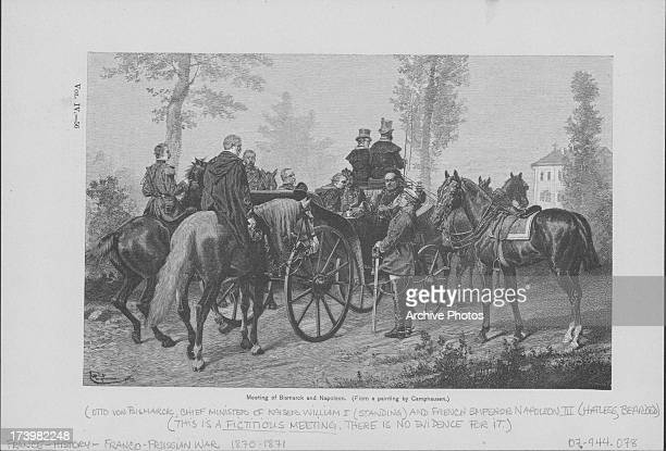 Engraving depicting the meeting of Napoleon and Bismarck from a painting by Camphausen during the FrancoPrussian War France circa 18701871