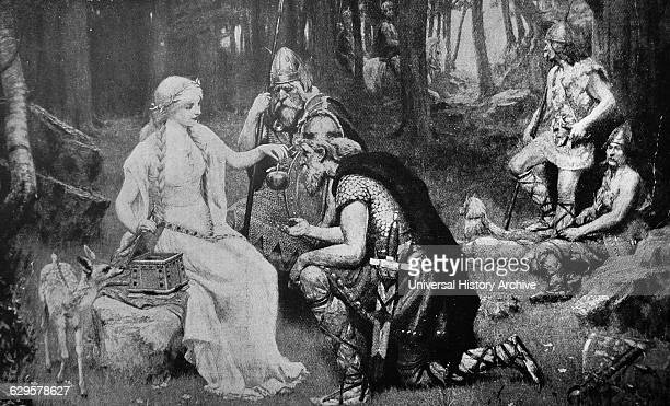 Engraving depicting the Norse mythological story of Iðunn's apples