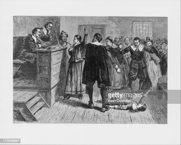 Engraving depicting the persecution of women accused of being witches a famous historical case of masshysteria in Salem MA 16921693 The central woman...