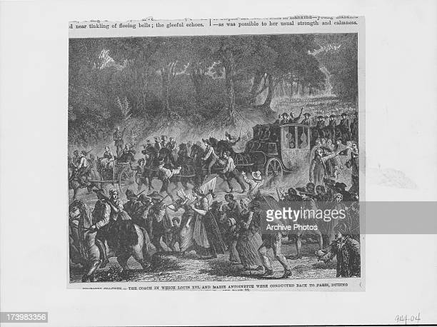 Engraving depicting the uprising of the French people prior to the French Revolution with the coach carrying Louis XVI and Marie Antoinette being...