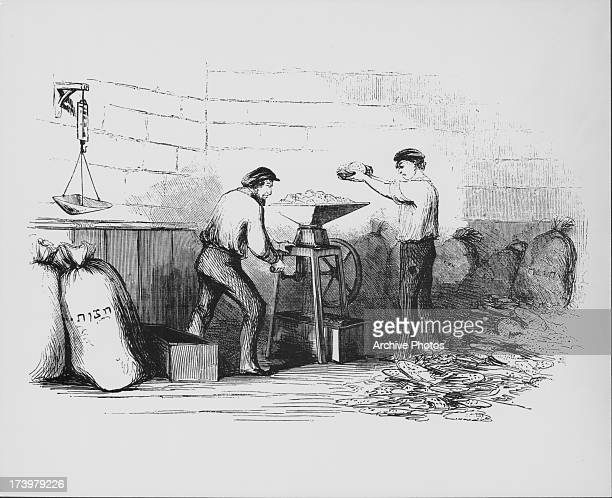 Engraving depicting work in an industrial bakery beginning with the measuring of the raw materials flour baking soda and yeast