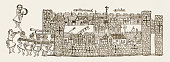 Engraving depicts a Byzantine Empire period view of a city with its walled fortifications Constantinople Turkey circa 1340 Outside the walls...