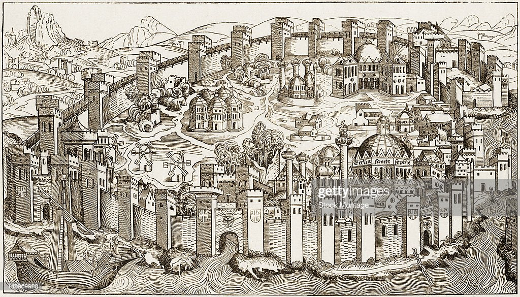 Engraving depicts a city with its walled fortifications Constantinople Turkey circa 1493