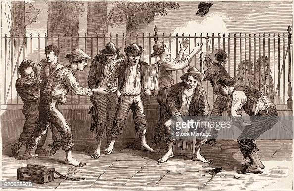 Engraving depicts a group of newspaper boys as they play a game of pitching pennies on a sidewalk New York New York circa 1871