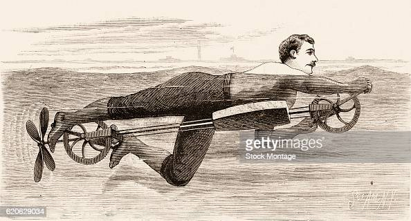 Engraving depicts a man with a hand and footcranked swimming device with a propeller 1880 The illustration appears in an issue of Scientific American