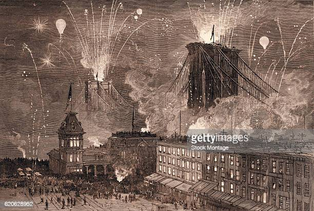 Engraving depicts a nighttime scene as fireworks explode the celebrate the opening of the Brooklyn Bridge New York New York May 24 1883 Designed by...