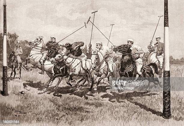 Engraving depicts a polo match where players mounted on galloping horses as they approach the ball near the goal 1893 The illustration from...