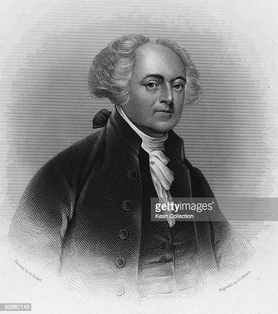 Engraving depicts a portrait of American political philosopher revolutionary diplomat vice president and president John Adams early 19th Century...
