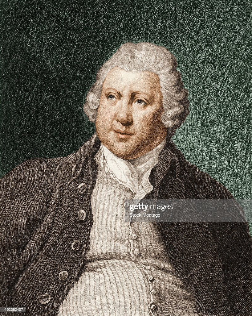 Engraving depicts a portrait of British industrialist and inventor Sir Richard Arkwright late 18th century