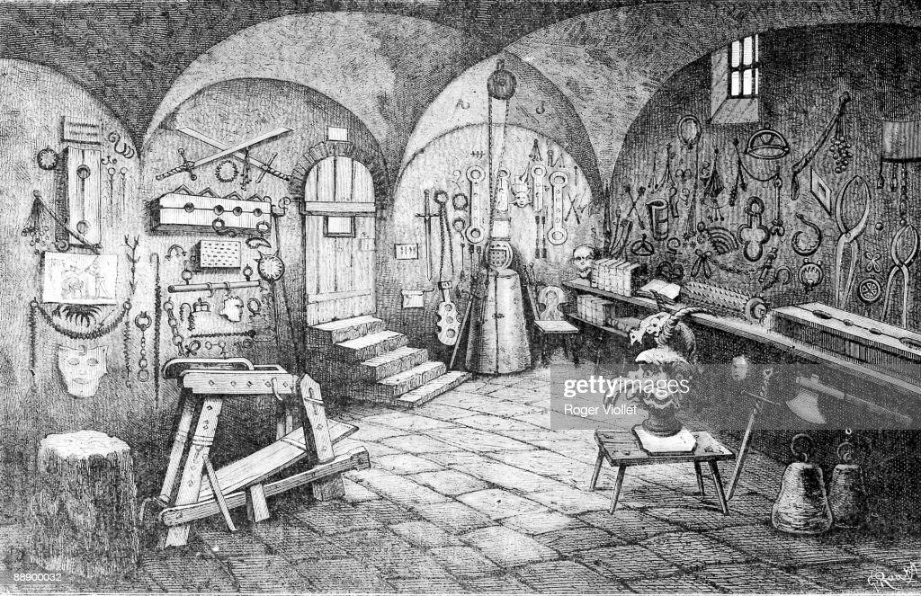 Engraving depicts a room full of instruments of torture in Nuremberg Castle, Nuremberg, Germany, 1881.