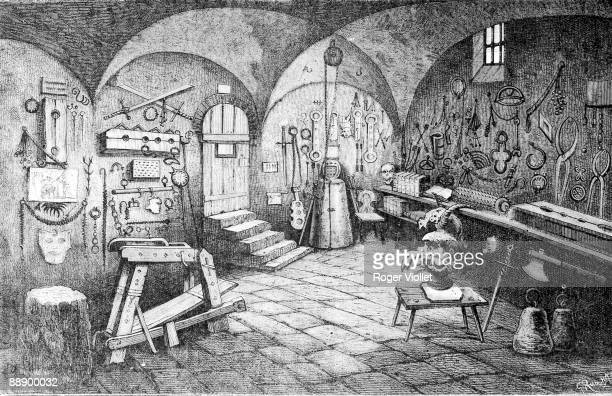 Engraving depicts a room full of instruments of torture in Nuremberg Castle Nuremberg Germany 1881