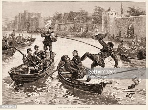 Engraving depicts 'A Water Tournament in the Fifteenth Century' and shows the occupants of two rowboats as they joust with lances and shields One man...