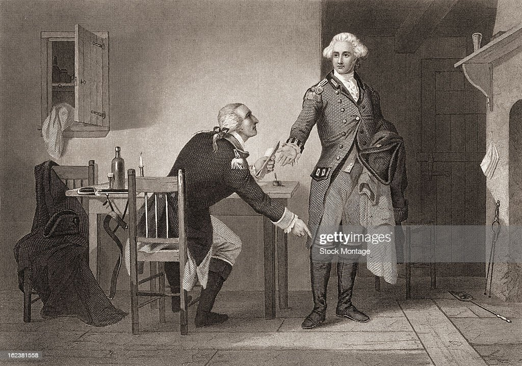 Engraving depicts American army officer Benedict Arnold seated at a table as he hands papers to British officer John Andre during the American...