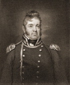 Engraving depicts American naval officer William Bainbridge early 19th century He commanded the ship USS Constitution