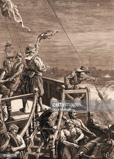 Engraving depicts British naval commmander Sir Henry Morgan aboard his ship during his attack on the town of Gibraltar Venezuela March 1669