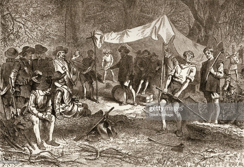 Engraving depicts English settlers as they set up their first camp at Jamestown Colony Virginia 1607 It was the first permanent English settlement in...