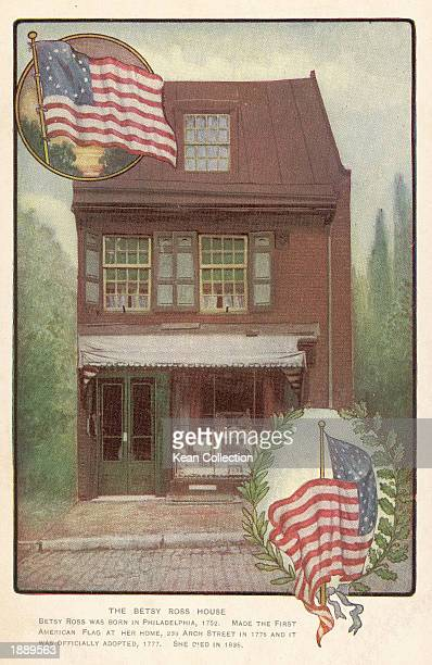 Engraving depicts exterior view of the Betsy Ross house Philadelphia Pennsylvania undated