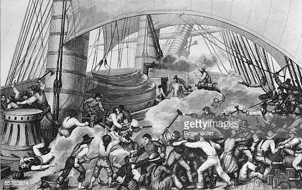 Engraving depicts fierce combat on the deck of the vessel Triton as it is boarded by pirates from the Hasard 1700 or 1800s