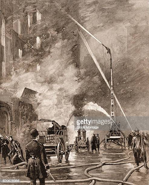 Engraving depicts firefighters as they use a watertower device to fight a fire in a sixstory warehouse New York New York 1892 The illustration...