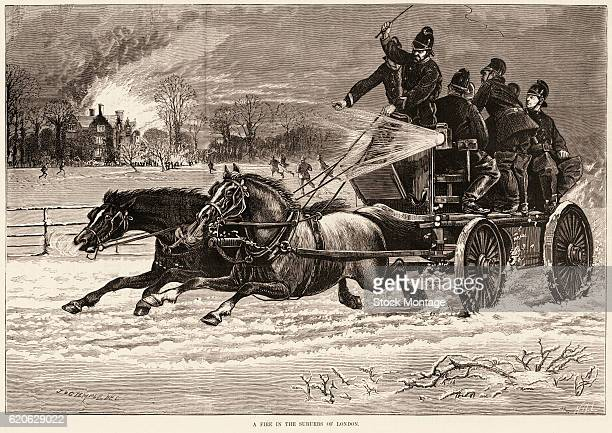Engraving depicts firefighters in a horsedrawn wagon as they hurry though the snow to 'A Fire in the Suburbs of London' England 1879