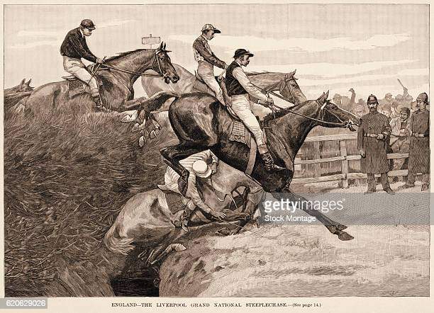 Engraving depicts horse and jockeys during the Liverpool Grand National Steeplechase Liverpool England 1890