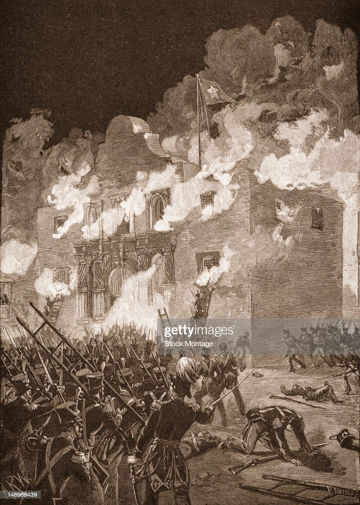 Engraving depicts Mexican troops as they overwhelm the Alamo Mission during the Battle of the Alamo in what is now San Antonio Texas March 6 1836
