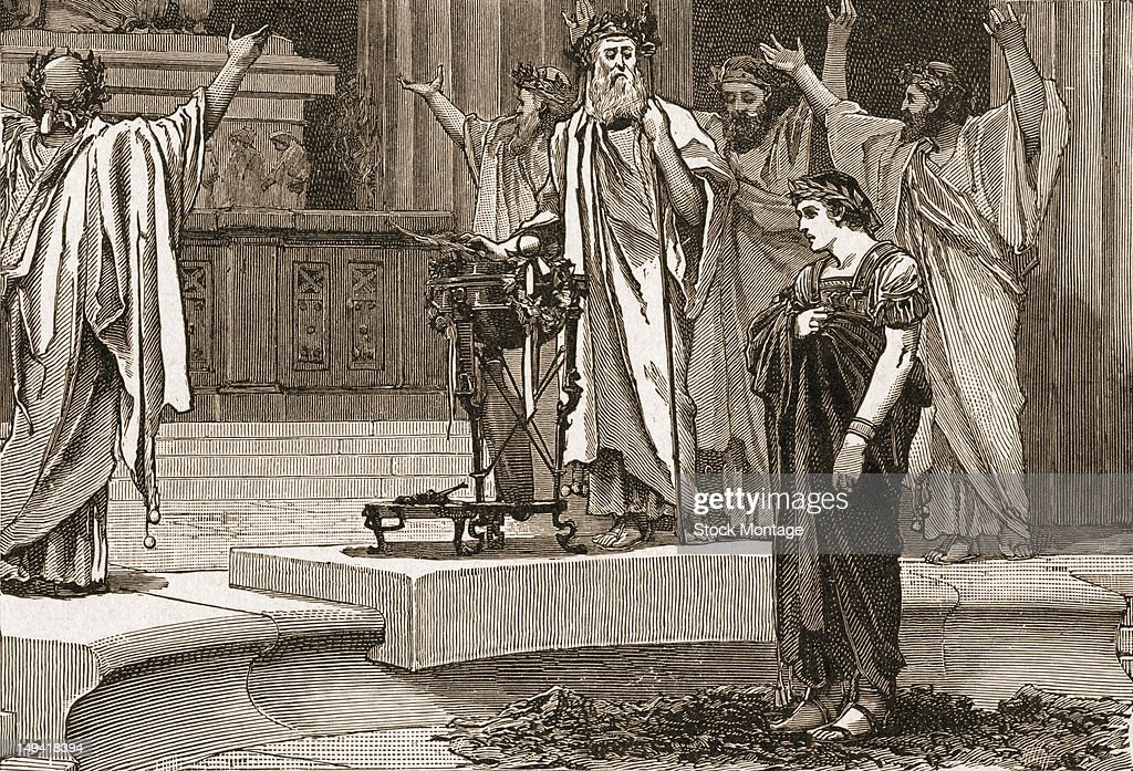 Engraving depicts of the King of Macedonia Alexander III as he visits the Temple of Amon to consult an oracle Siwah Egypt 331 BC