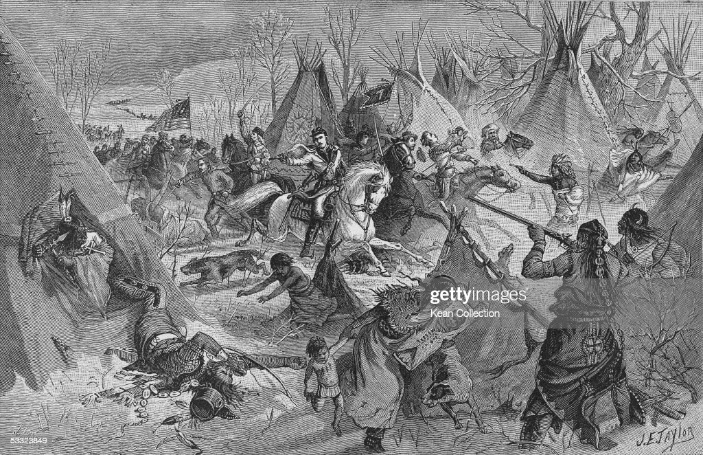 Engraving depicts the 7th U.S. Cavalry, under the command of General George Arnstrong Custer, as it attacks a camp of Cheyenne Native Americans under Chief Black Kettle along the Washita River, near what is now Cheyenne, Oklahoma, November 27, 1868. The engraving, signed by J.E. Taylor & J. Karst, is titled 'Gen. Custer's Surprise of an Indian Camp of Over Two Thousand Warriors,' and goes on to say that there were Cheyanne, Arrapahoe, Kiowa, and Comanches present, though it should be noted that this headline implies a simultaneous attack upon all of these camps whereas Custer's forces only attacked the Cheyanne, not realizing at the time that there were other camps nearby.