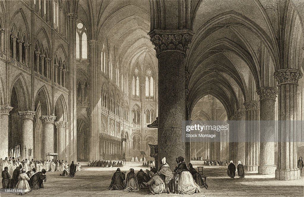 Engraving depicts the interior of NotreDame Cathedral Paris France 1830s or 1840s
