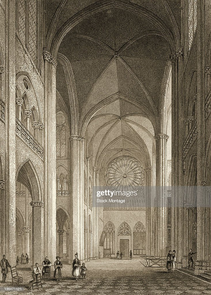 Engraving depicts the interior of the south transept in NotreDame Cathedral Paris France 1830s