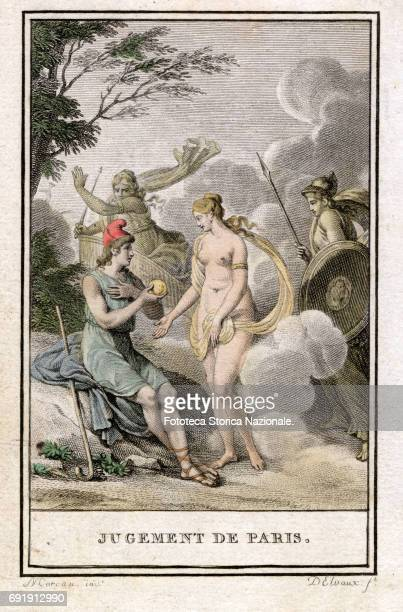 Engraving depicts 'The Judgment of Paris' France circa 1810 Here the Trojan prince under the guise of a pastor to escape the prophecies concerning...