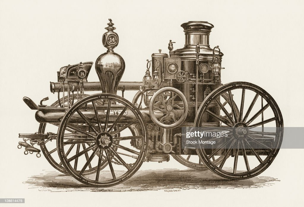 Engraving depicts the Metropolitan Fire Department's engine number 14 a horsedrawn steampowered fire wagon New York New York 1850s or 1860s The...