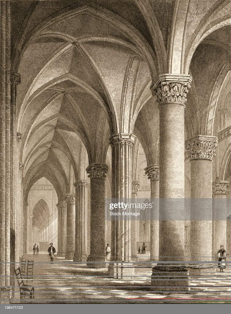 Engraving depicts the northern aisle of the nave in NotreDame Cathedral in Paris France 1830s