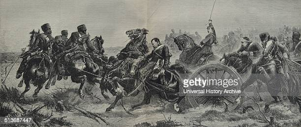 Engraving depicts the soldiers transporting a cannon into battle Dated 1870