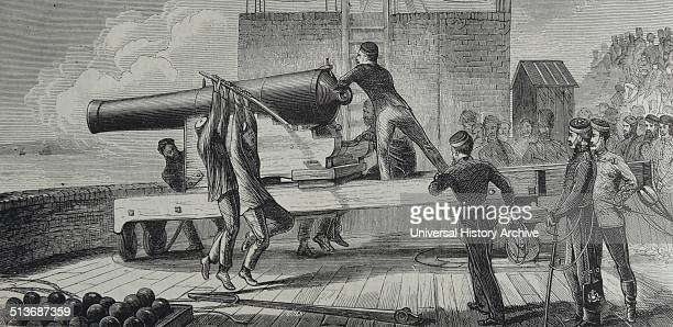 Engraving depicts the volunteers at Shoeburyness Dated 1870