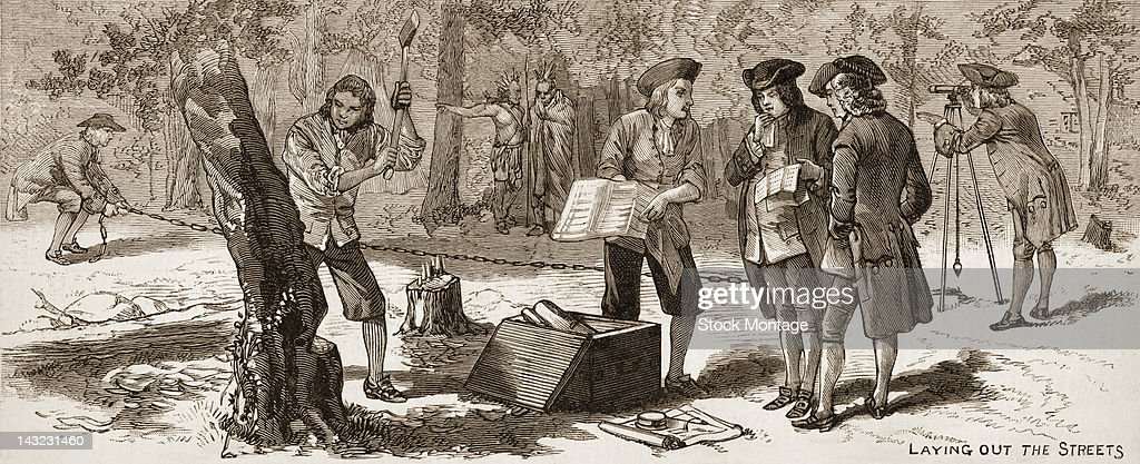 Engraving depicts <a gi-track='captionPersonalityLinkClicked' href=/galleries/search?phrase=William+Penn&family=editorial&specificpeople=162659 ng-click='$event.stopPropagation()'>William Penn</a> (1644 - 1718) and others as they lay out the streets of Philadelphia, Pennsylvania, April 1682.