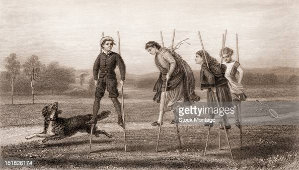Engraving entitled 'Between School Hours' depicts a group of four children as they walk with stilts earlier to mid 1870s
