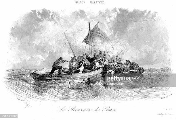 Engraving entitled 'La Rencontre Des Pirates' depicts a battle between pirates on two small row boats 1800