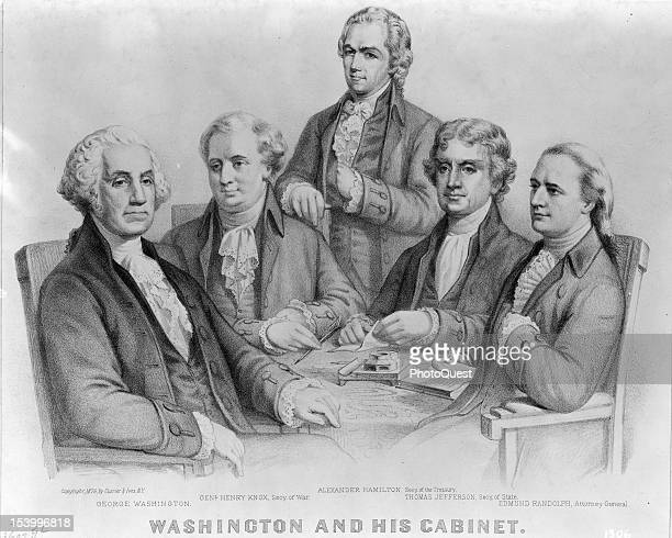 Engraving entitled 'Washington And His Cabinet' features an illustration of from left American President George Washington Secretary of War General...