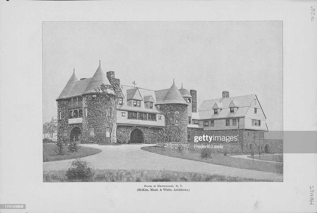 Engraving from a picture or the Osborn Residence in Mamaroneck created by architects McKim Mead White as built in the style of Norman castles of the...