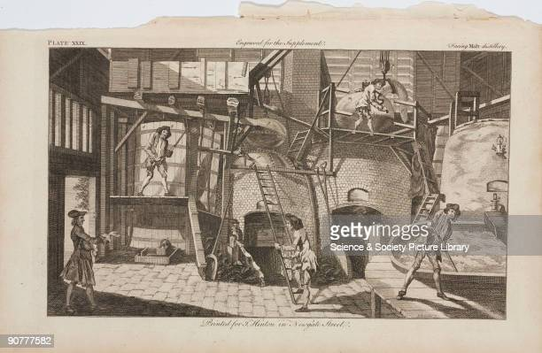 Engraving from a supplement to the �New and Universal Dictionary of Arts and Sciences� by J Barrow published in London in 1754 showing the processes...
