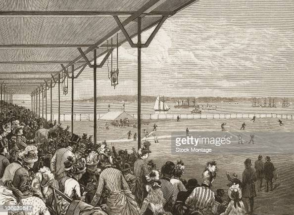 Engraving from Harper's Weekly entitled 'The New Grounds of the Metropolitan Baseball Club on Staten Island' depicts spectators in a stadium as they...