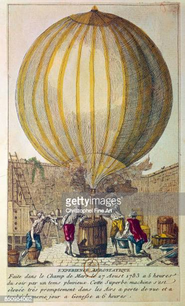 Engraving Launch of the First Hydrogen Filled Balloon from the Champs de Mars 27 August 1783 Paris Bibliotheque Nationale