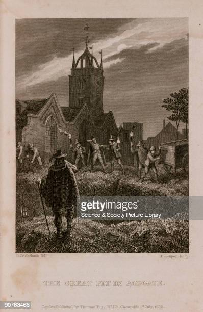 Engraving made c 1865 by Davenport after Cruikshank showing men with torches in a churchyard preparing to empty bodies into an open grave during the...