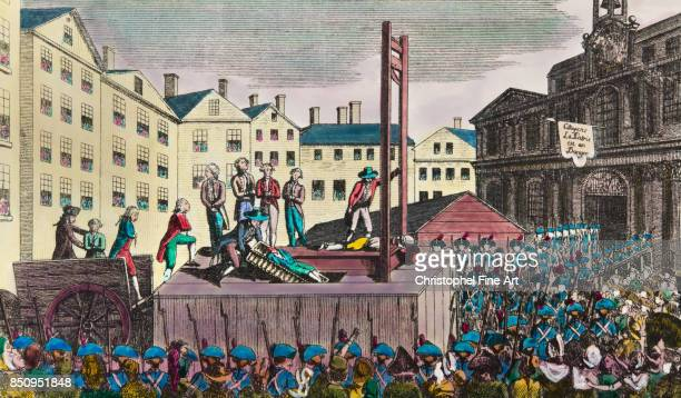 Engraving Nine emigrants lead to the guillotine guilty of having beared arms Private Collection